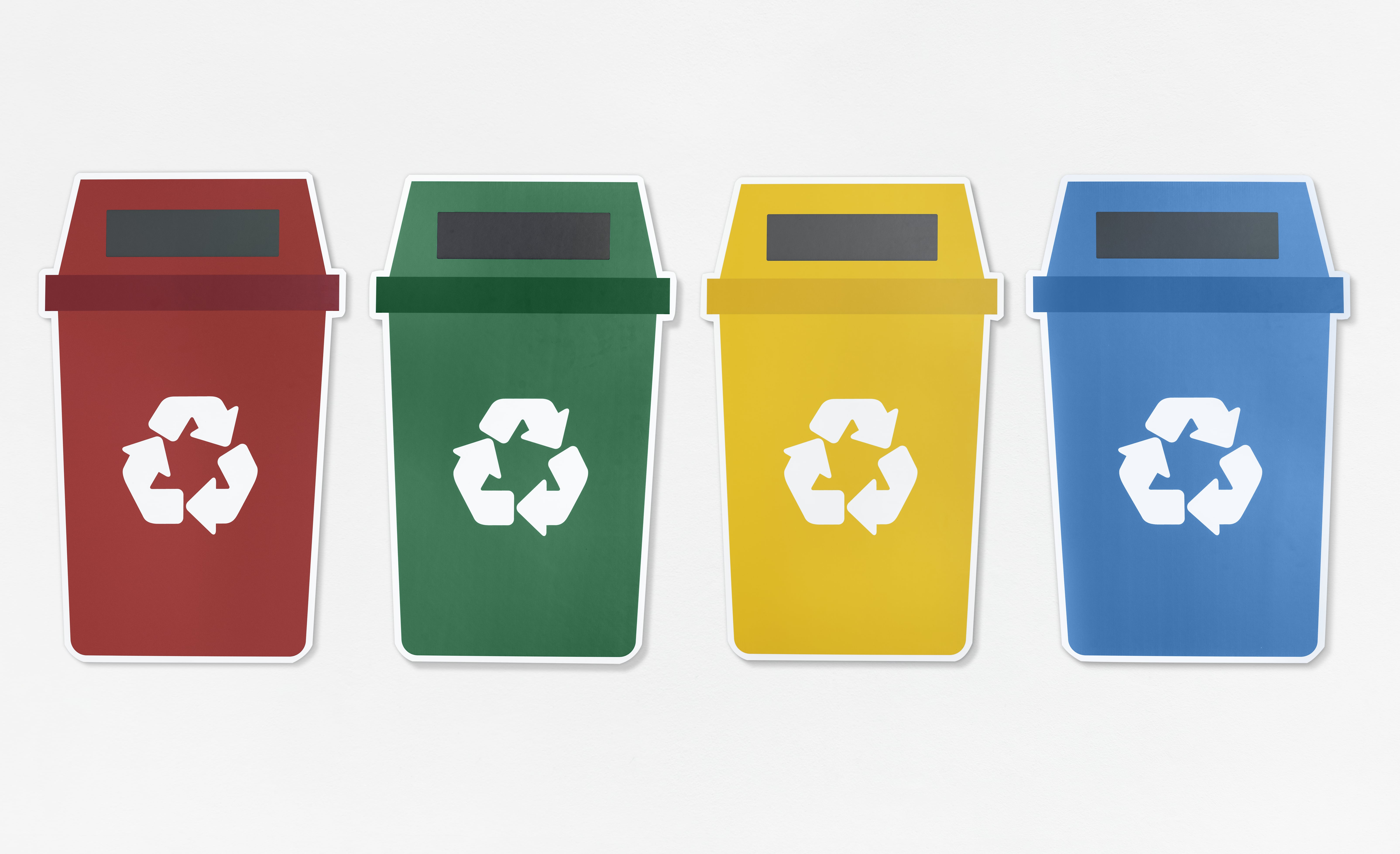 set of trash bins with recycle symbol min